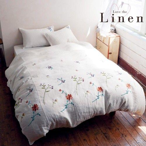 フレンチリネン刺繍の布団カバー3点セット(ラブザリネン)|通販のベルメゾンネット