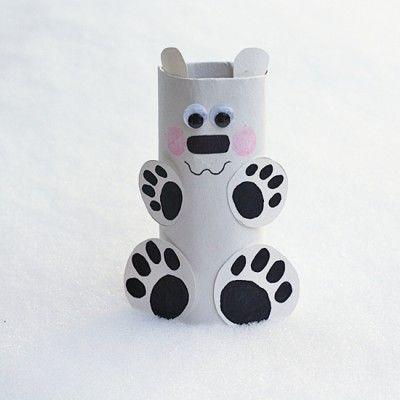 Cardboard Tube Polar Bear - Fun Family Crafts