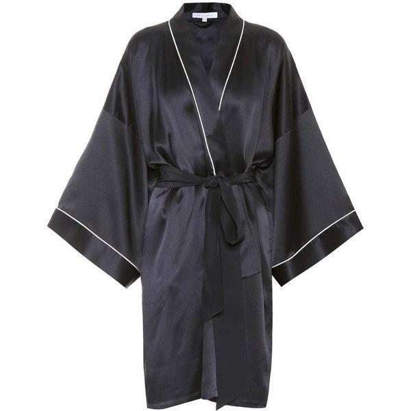Olivia von Halle Mimi Short Silk Robe (€465) ❤ liked on Polyvore featuring intimates, robes, blue, silk bathrobe, silk robe, short robe, blue dressing gown and bath robes