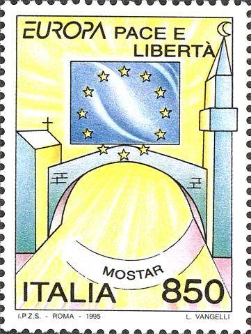 """1995 - """"Europa Unita"""": Pace e libertà: la bandiera d'Europa ed il ponte di """"MOSTAR"""" tra i simboli stilizzati delle religioni cristiana e musulmana."""