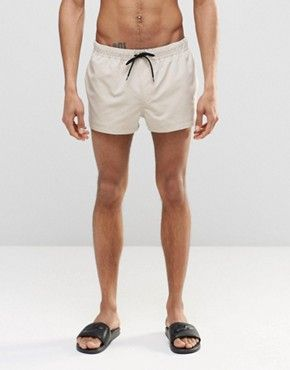 ASOS Swim Shorts In Stone Super Short Length