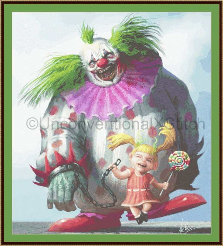 Lollipop petrifying clown cross stitch pattern - Large special edition by UnconventionalX on Etsy