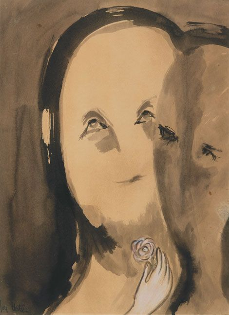 Joy Hester ~ Faces (from The Lovers series), c.1948 (ink and pastel on paper)