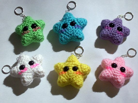 Kawaii Crochet Star Keychain by blackmoonflower on Etsy