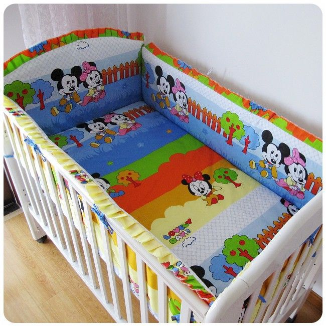 Promotion! 6pcs mickey mouse baby cot crib bedding set crib bumper,include(bumpers+sheet+pillow cover)