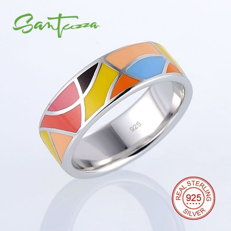 Silver Rings for Women Lord of the Ring HANDMADE Colorful Enamel Ring Pure 925 Sterling Silver Female Ring Party Fashion Jewelry