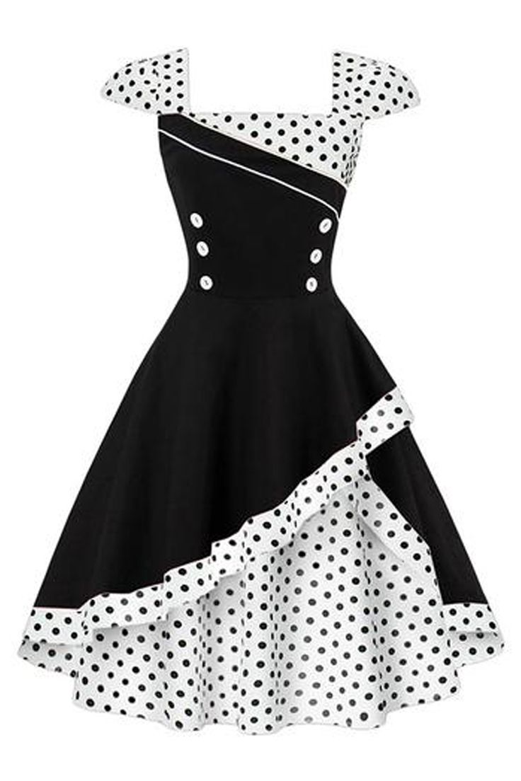 Polka dots and buttons. Get your very own adorable Atomic Black and White Rockabilly Cocktail Dress. Take a closer look: https://atomicjaneclothing.com/products/atomic-black-and-white-rockabilly-cocktail-dress