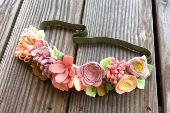 Felt Flower Crown // Rose Coral  Peach by fancyfreefinery on Etsy, $20.00