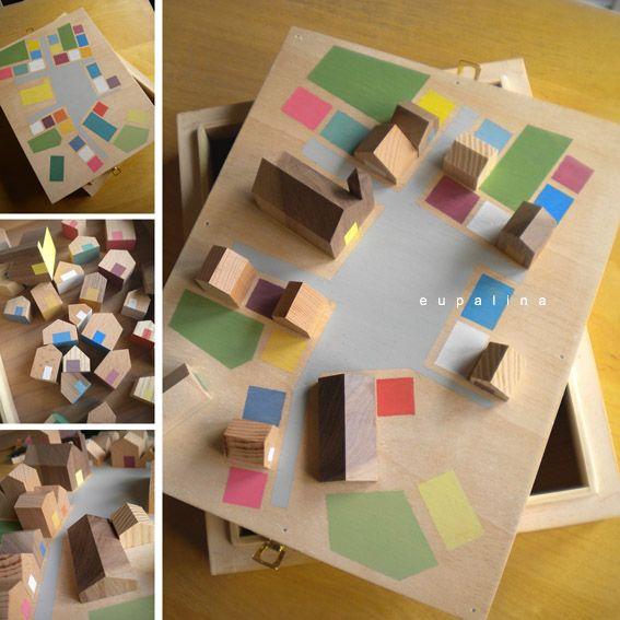 Villa de madera con caja-plano