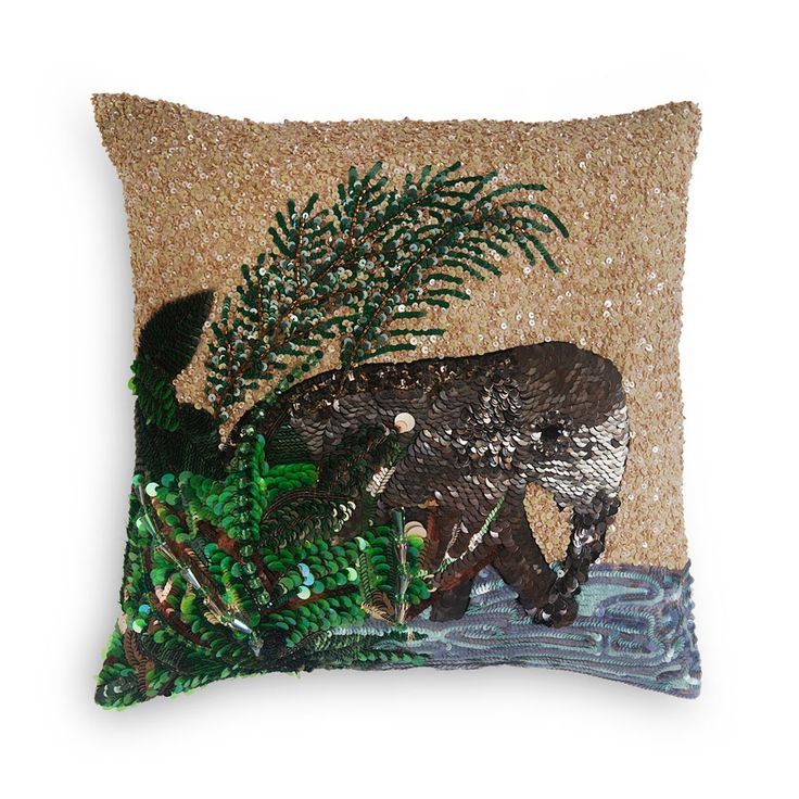 Elephant | Decorative Cushion | Majestic style! Sequins and crystals are intricately hand-embroidered onto fine silk taffeta to create this luxurious piece.