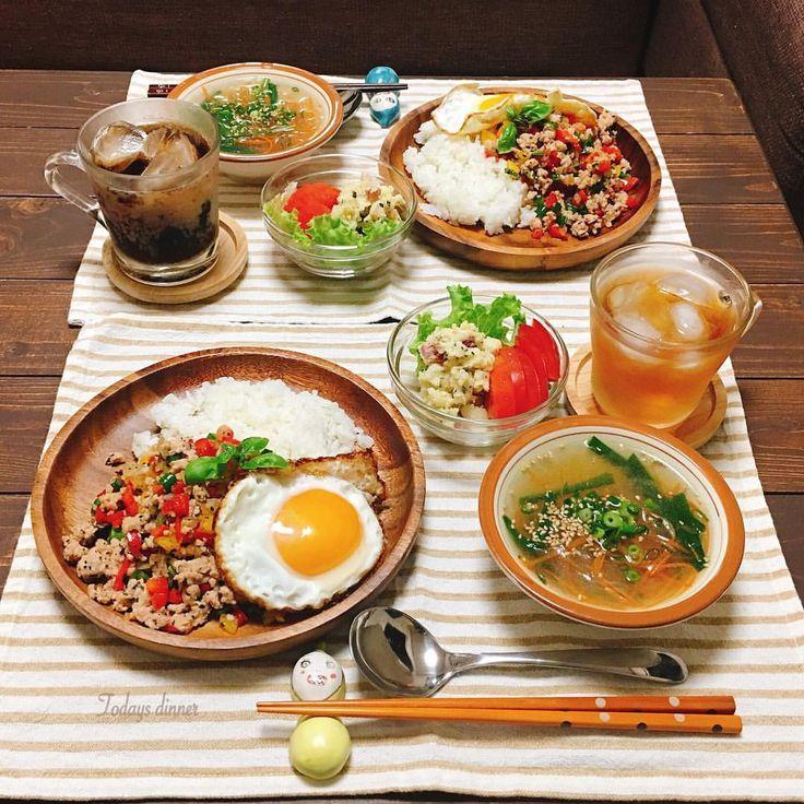 こんばんは✴︎ 7/15〈金〉よるごはん〜 ○ガパオライス ○ポテトとカリカリベーコンのバジルマヨサラダ ○ニラと春雨のスープ ごちそうさまでした! #夜ごはん#晩ごはん#夕ご飯#夕食#おうちごはん#おうちカフェ#ガパオライス#料理#料理写真#デリスタグラマー#クッキングラム #cooking#dinner#japanesefood#foodpic#foodphoto#instafood#lin_stagrammer