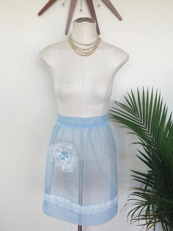 Vintage Hostess Apron - Sheer Icy Blue Chiffon with White Lace (by Mz Jones Boudoir)