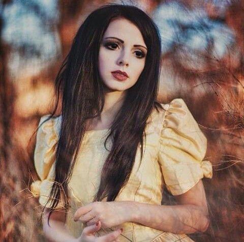 #goth #fashion #black #long #hair #yellow #dress