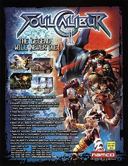 Soul Calibur II (Namco), GameCube; weapon-based fighting game developed by Project Soul & published by Namco & 3rd installment in the Soul series. home versions of the game feature Heihachi Mishima from Tekken (PS2), Link from The Legend of Zelda (GameCube) & Spawn (XBox). Soulcalibur II has improved graphics & introduces new characters, stages, & music. It received 93/100 on Metacritic.