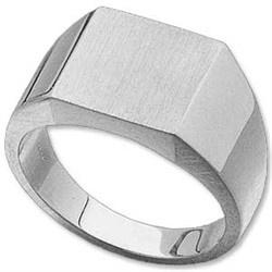Mens Signet Rings: 14k White Gold Mens Signet Ring 12mm x 12mm