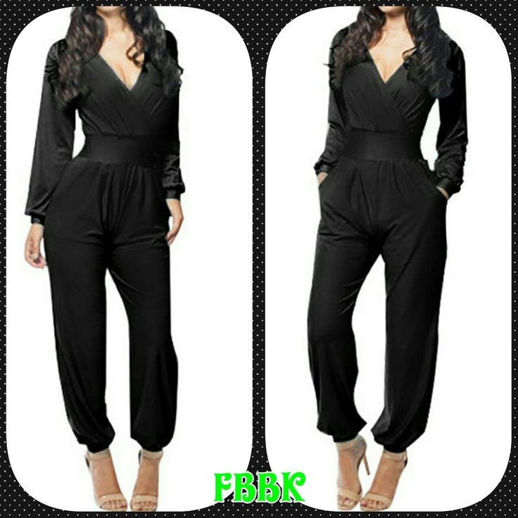 kim black long sleeves pants romper via FASHION BOUTIQUE BY KAY. Click on the image to see more!