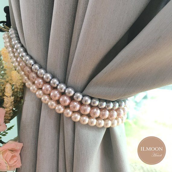 Pink And Grey Pink And Gold Curtain Tie Backs Shabby Chic