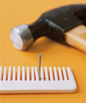 Hammering Nails..use a comb to hold the nail in place and to space the nails evenly (if you require a row of nails).