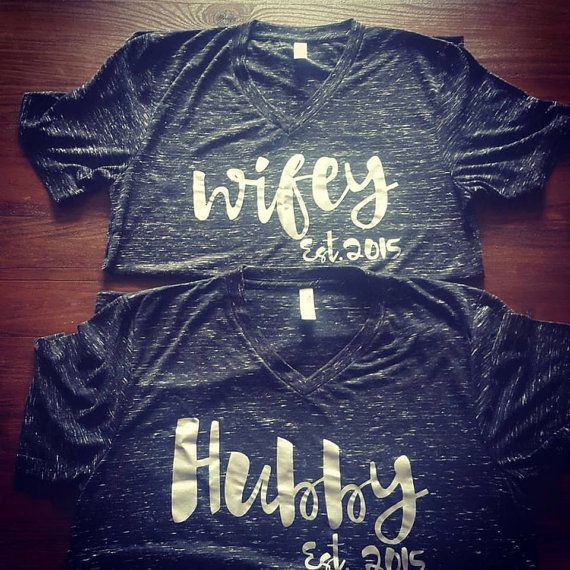 Hubby & Wifey Unisex T-Shirt Set by shaelaraedesigns on Etsy