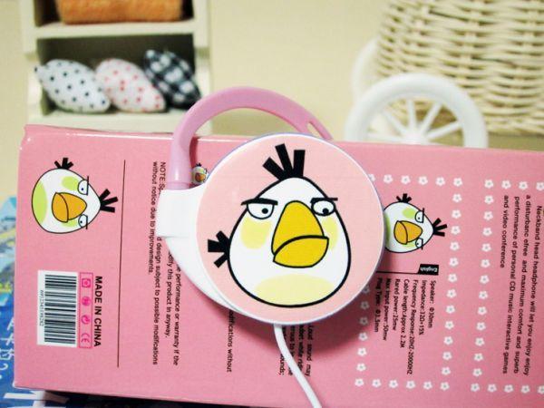 Наушники Angry Birds круглые розовые