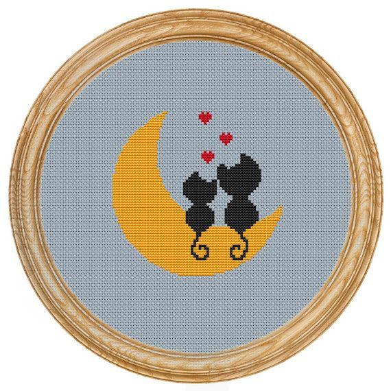 Cross Stitch Pattern PDF love cats moon di HappyStitches4You