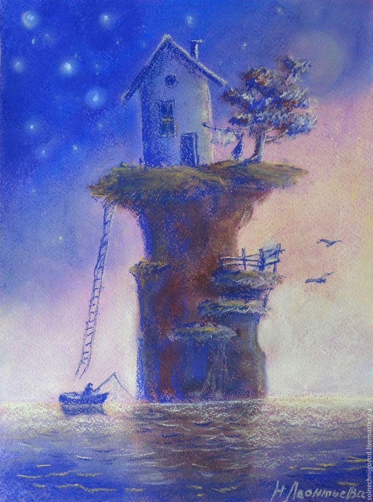 """Купить Картина пастелью """"На краю света"""" - комбинированный, сиреневй, розовый, желтый, закат, море"""