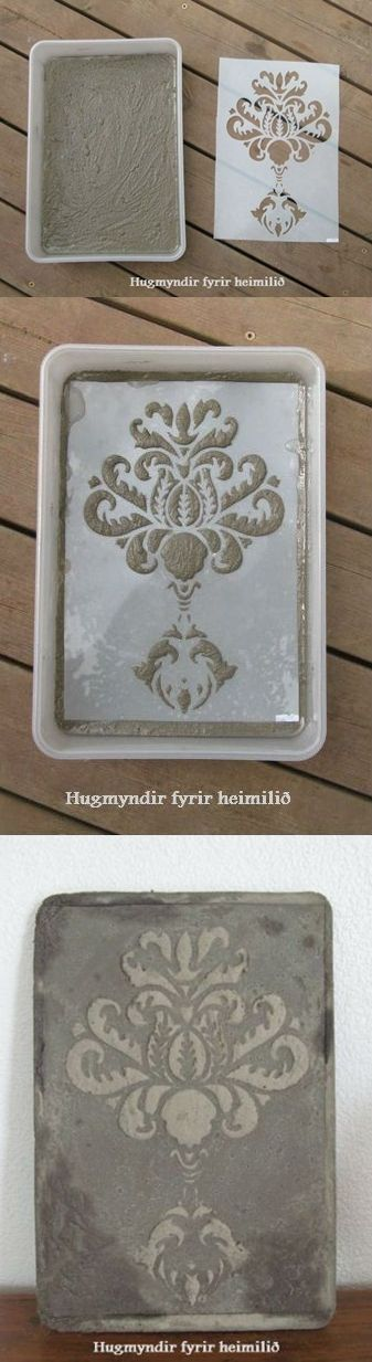 Whoa! I am totally trying this! Hypertufa Design Using Stencils