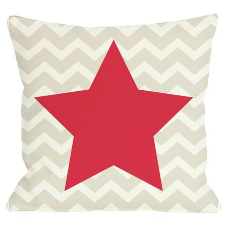 Reversible pillow with a chevron motif and star accents.  Product: PillowConstruction Material: Polyester cover ...