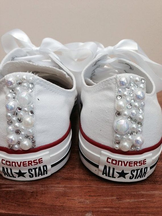 pearl converse bridal converse wedding converse bride converse customised converse unique sneakers
