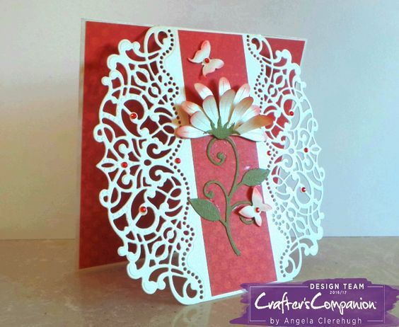 "6"" x 6"" Card made using Crafter's Companion Die'sire Create-A-Card Decorative Die Sophia. Designed by Angela Clerehugh #crafterscompanion"