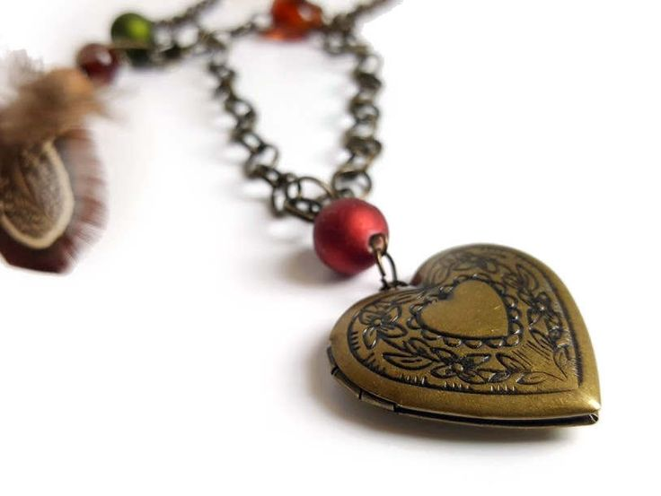 Elated Heart - Boho Chic Heart Locket with Feathers and Beads on Oxidized Brass Color Chain & Matching Feather Asymmetrical Tassle Earrings by FourthStreetDesigns on Etsy