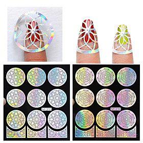 Цветы-3D формы для акрилового маникюра-Пальцы рук / Пальцы ног-910.5cm-1pcs hollow nail sticker template-ПВХ
