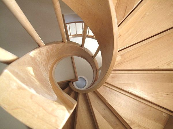 Wooden spiral staircase overhead view