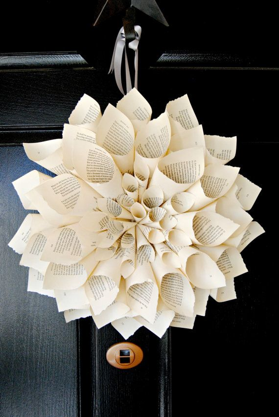 """17"""" Shabby Chic Vintage Book Page Wreath"""