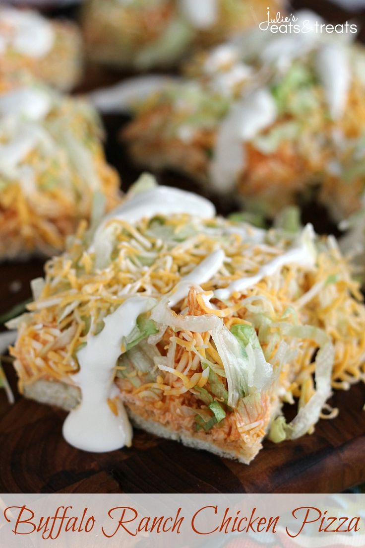 Buffalo Ranch Chicken Pizza ~ Flaky Crescent Rolls Piled with Cream Cheese, Buffalo Chicken, Lettuce, Cheese and Blue Cheese Dressing! on MyRecipeMagic.com