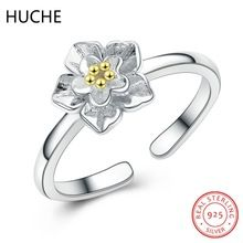 HUCHE Vintage Flower Ring Female Real 925 Sterling SIlver Open Resizable Rings for Women Lover Gift Jewelry Party Bague ZE188()