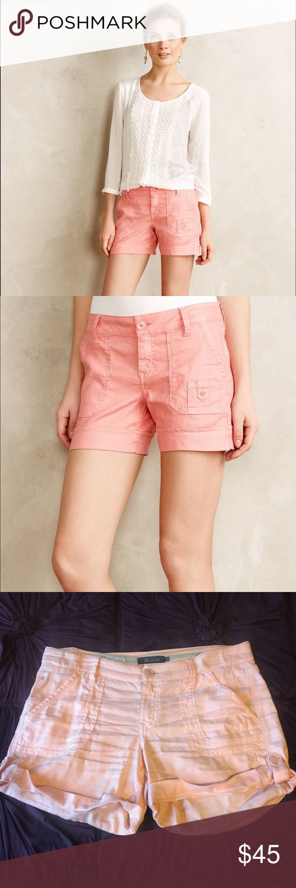 Anthropologie Level 99 Cuffed Cargo Shorts Only wore ONCE! And in MINT CONDITION! These are the Level 99 brand Cufffed Cargo Shorts sold at Anthropologie. Color is a GORG. Salmon pink color. 🤑👉🏼SEND ME A OFFER👈🏼🤑 Anthropologie Shorts Cargos