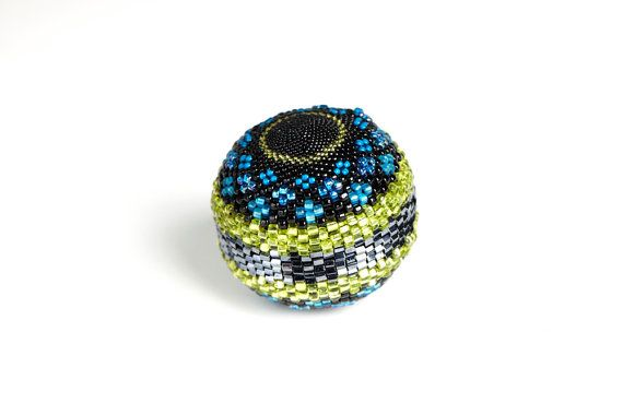 Handmade Beaded Ball Sphere Turquoise  Ocean