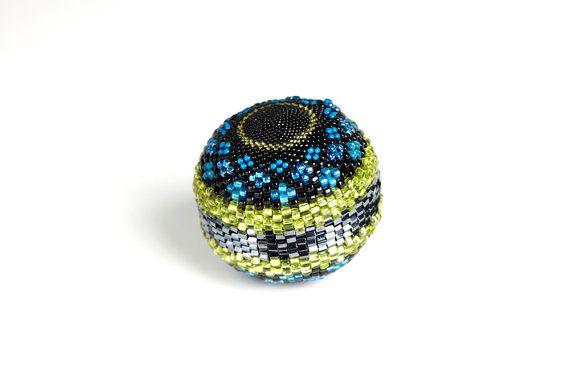 Handmade Beaded Ball Sphere Turquoise  Ocean
