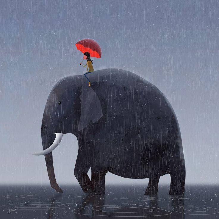 Adorable Illustrations by Goro Fujita #elephant #illustration
