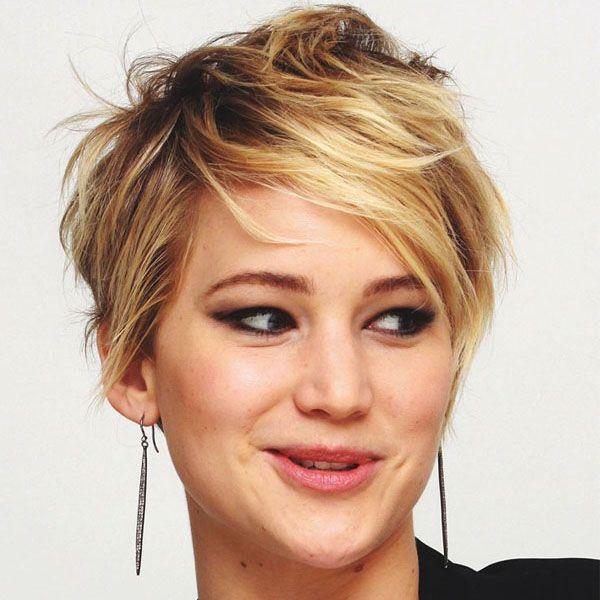 Jennifer Lawrence cabelo curto. Cortes de cabelo para cabelos finos.