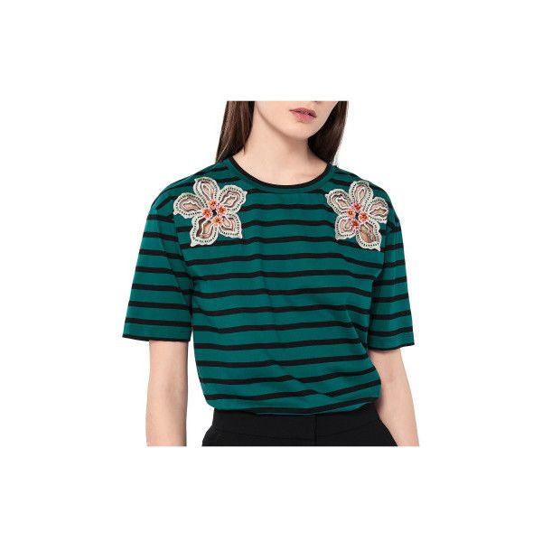 Sandro Paris Hawai T-Shirt (€90) ❤ liked on Polyvore featuring tops, t-shirts, 1187-23444, green, embroidered t shirts, scoop neck tee, green top, striped t shirt and blue striped t shirt