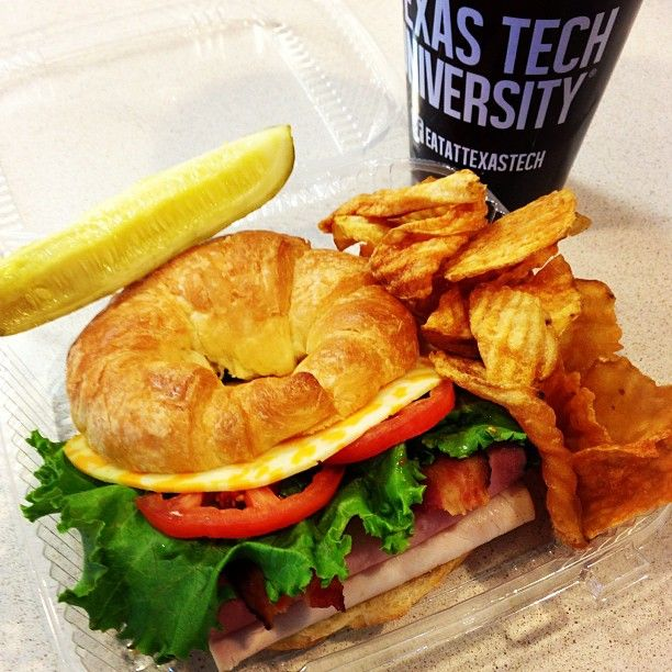 No. 8 Club Sandwich on Croissant, Boar's Head OvenGold Turkey and Honey Maple Ham, Colby Jack, Veggies & homemade Deli Chips #UnionBistro #TTUSUB