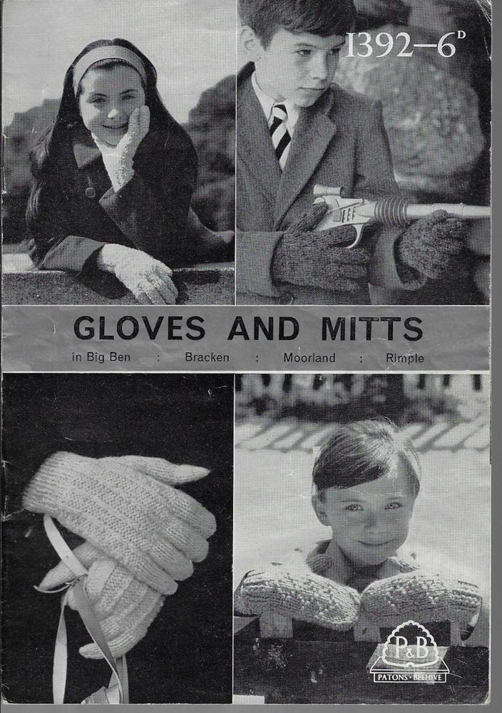 Children's Gloves & Mittens Patons 1392 vintage knitting pattern 4 styles winter #Patons