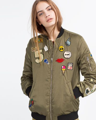 Image 2 of OVERSIZED BOMBER JACKET WITH PATCHES from Zara