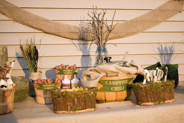 Love this outdoor camping theme baby shower decor