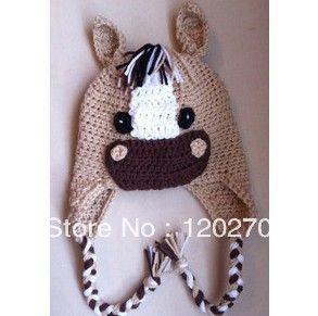 Livre Infantil envio Infantil Crochet Cavalo Chapéu, Recém-nascido Foto Prop Bebés Meninos animal Gorros Earflaps Inverno Crianças Cotton Hat
