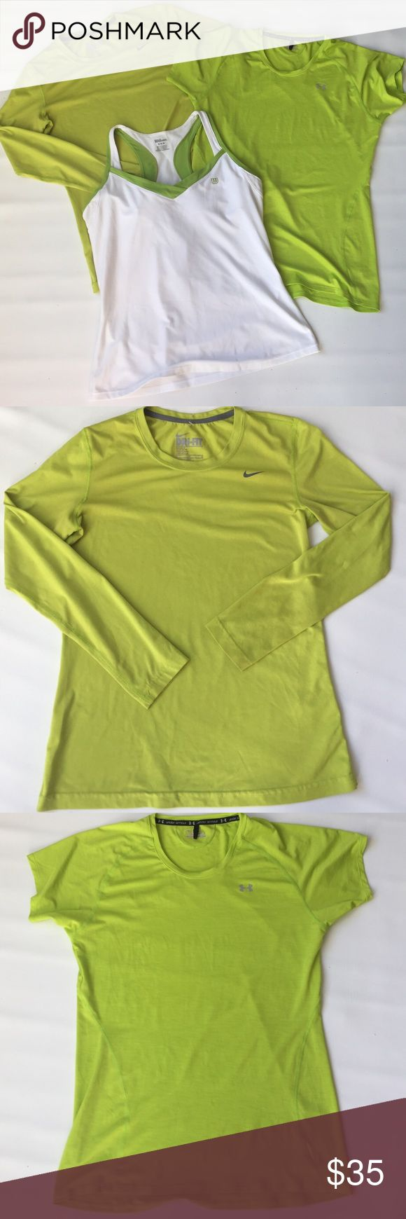 NWOT Under Armour M Wilson M Nike M Women's lot 3 items lot: NWOT Under Armour green short sleeve top, NWOT Wilson build in bra tank top white and pre loved Nike dry fit long sleeve top in perfect condition Nike Tops