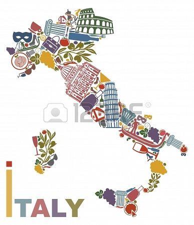 Símbolos tradicionales de Italia en la forma de un mapa Foto de archivo - 18213690