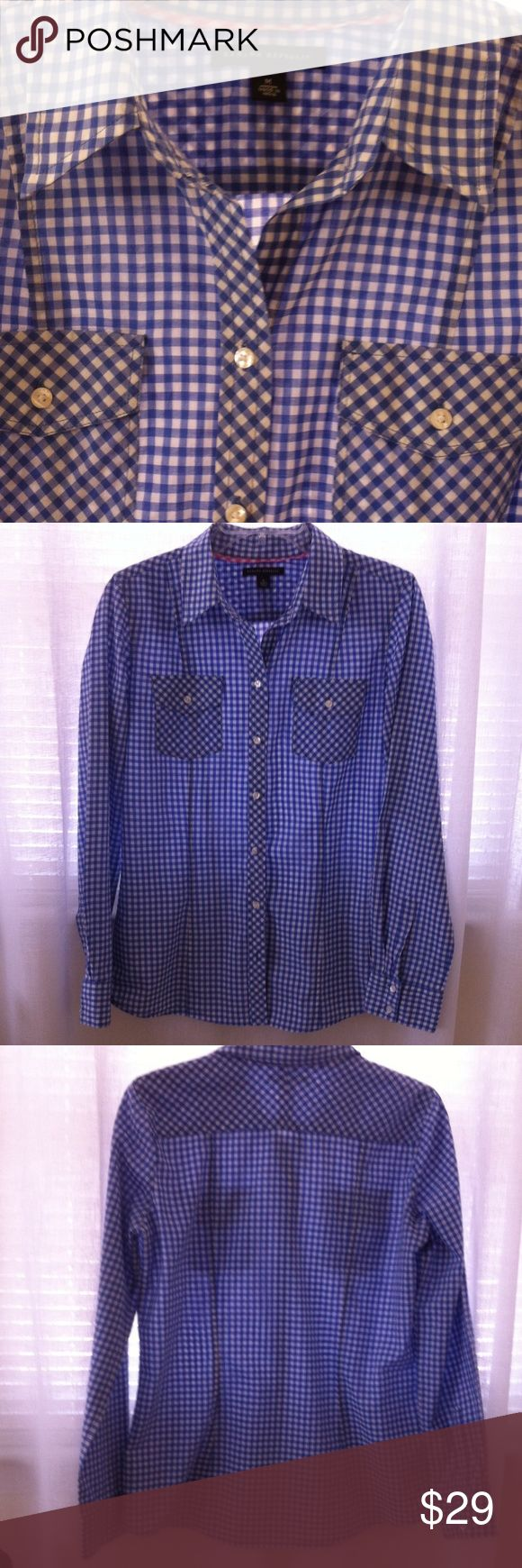 """Marina Blue Gingham Blouse NWOT Looks Great with black, navy, charcoal, or red. 100% cotton. No stretch. Made in India. Semi fitted with high end details. Back and front seams for a custom fit. Bust is 36. Length 25"""". Banana Republic Tops Blouses"""
